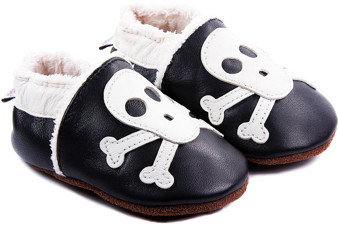 Chaussons bébé fourrés en cuir Rock\'n Roll Squelette