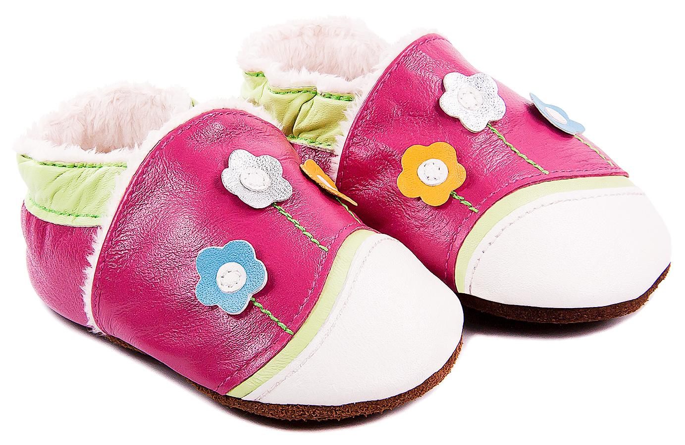 Chaussons bébé fourrés en cuir Chemin Floral