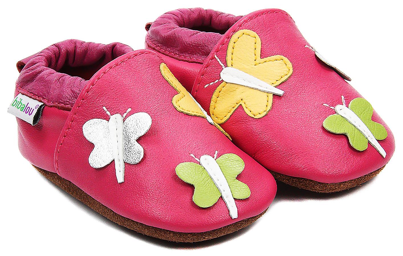 Chaussons bébé en cuir souple Farandole de Papillons