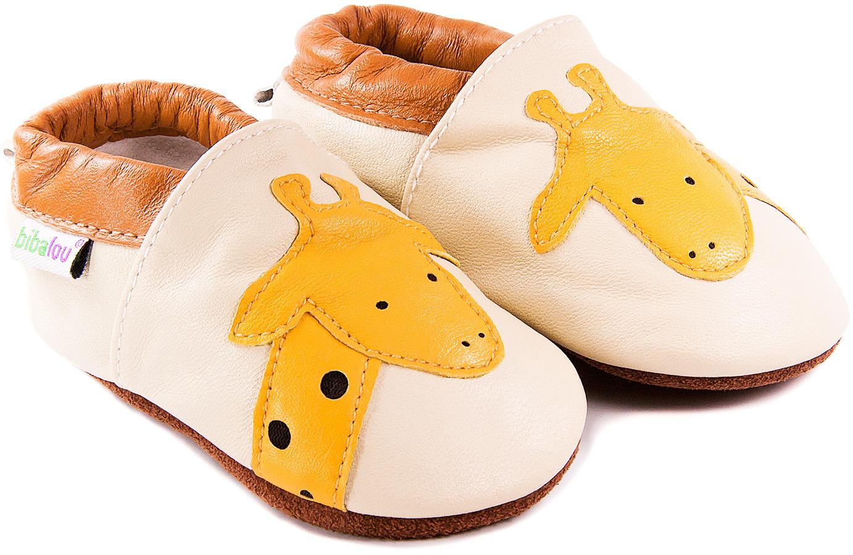 Chaussons bébé en cuir souple Laly la Girafe
