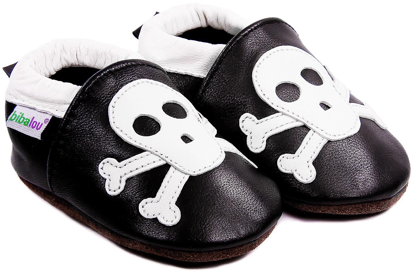 Chaussons bébé en cuir souple Rock\'n Roll Squelette