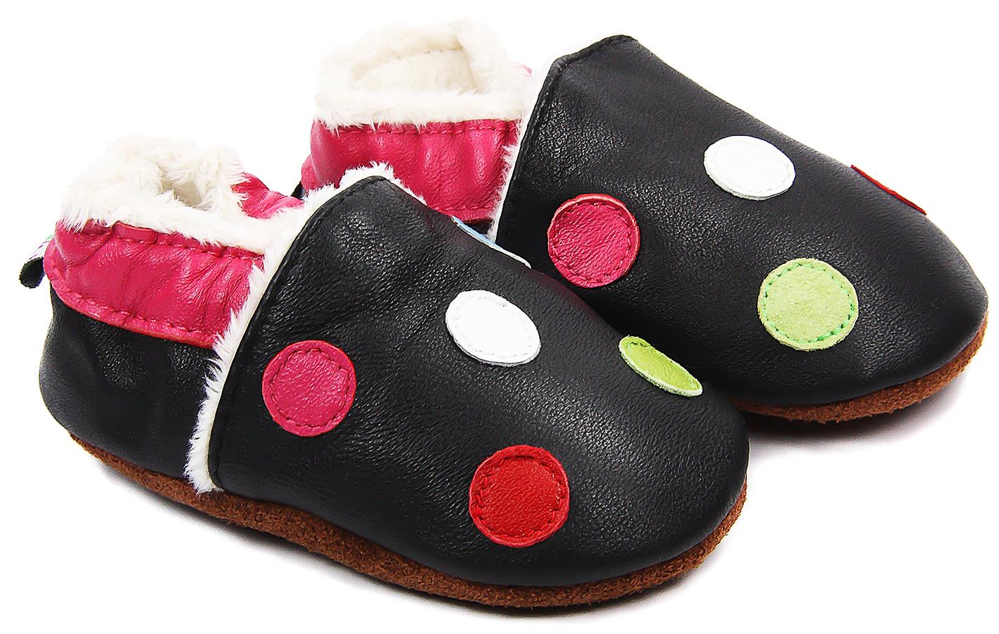 Chaussons bébé fourrés en cuir Petits Pois