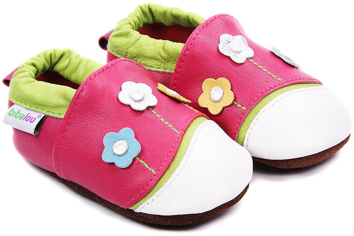 Chaussons bébé en cuir souple Chemin Floral