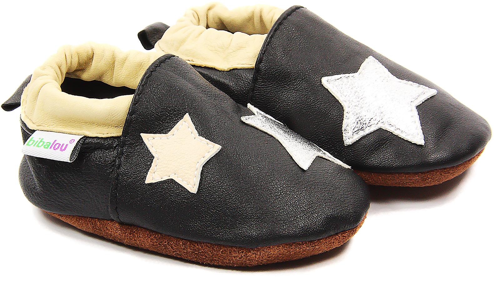 Chaussons bébé en cuir souple La Tête dans les Étoiles