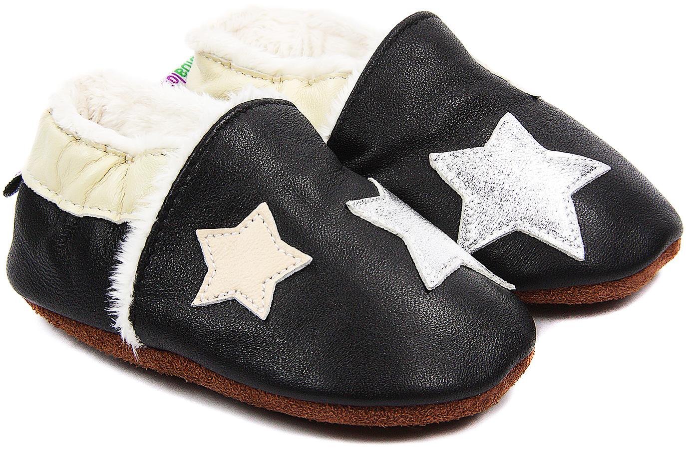Chaussons bébé fourrés en cuir La Tête dans les Étoiles