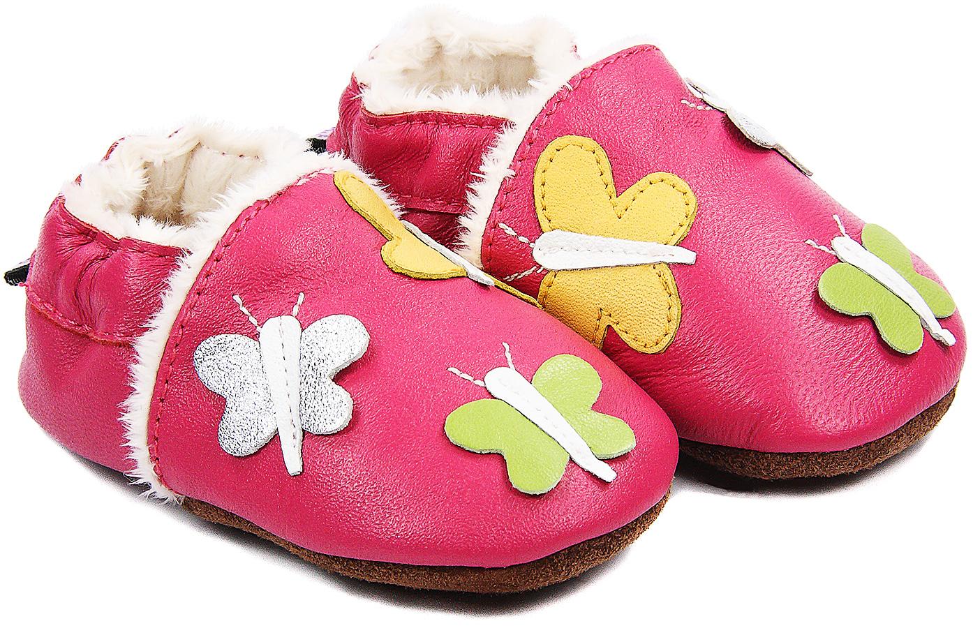 Chaussons bébé fourrés en cuir Farandoles de Papillonsr