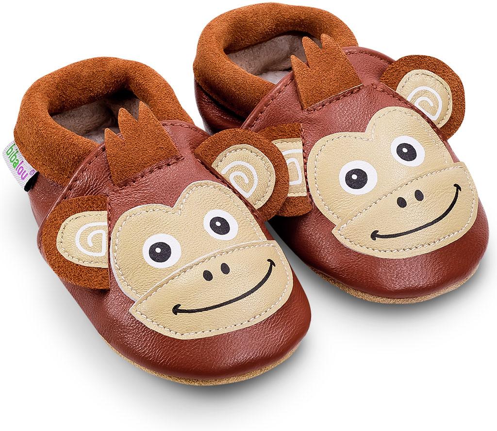 Chaussons bébé en cuir souple Coco le Singe