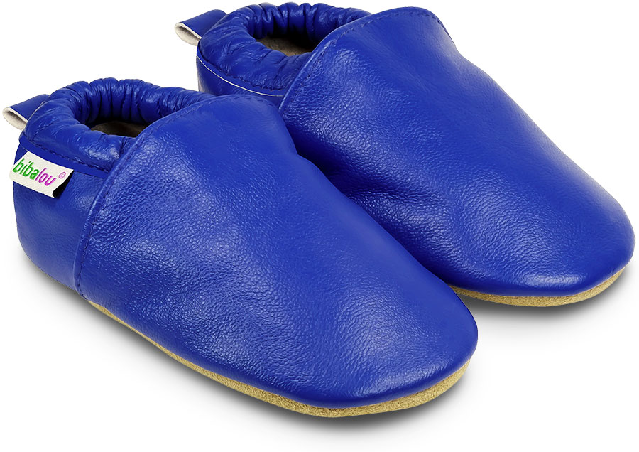 Chaussons en cuir souple Unis - Bleu Electrique