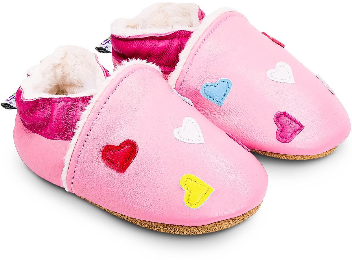 Chaussons cuir souple fourrés Mini Coeurs - rose