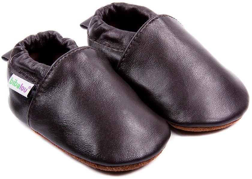 chaussons b b en cuir souple unis brun cachou bibalou. Black Bedroom Furniture Sets. Home Design Ideas