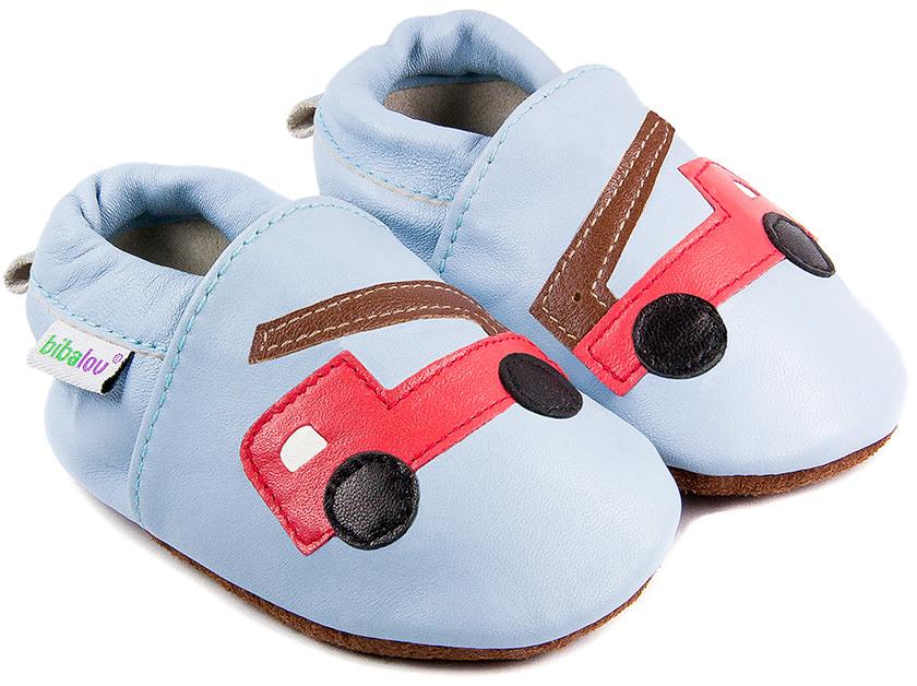 16e175b42627f Chaussons bébé en cuir souple Beau comme un Camion bleu - Bibalou