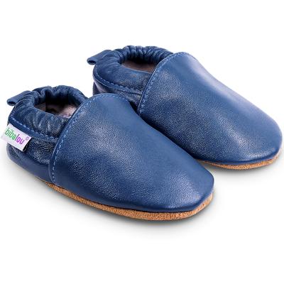 Chaussons bébé en cuir souple Unis - Bleu de Minuit