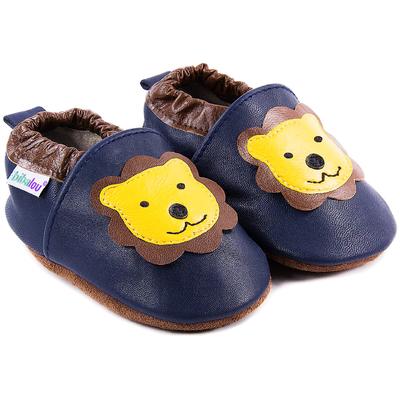 Chaussons bébé en cuir souple Léon le Lion - bleu