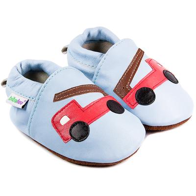 Chaussons bébé en cuir souple Beau comme un Camion - bleu