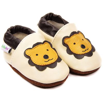 Chaussons bébé en cuir souple Léon le Lion - beige