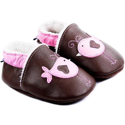Chaussons bébé fourrés en cuir Nid d'Amour