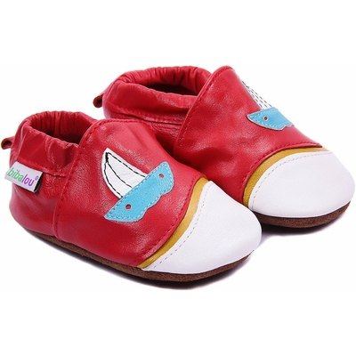 Chaussons bébé en cuir souple Larguez les Amarres - rouge