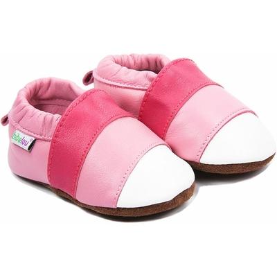 Chaussons bébé en cuir souple Pink Lady