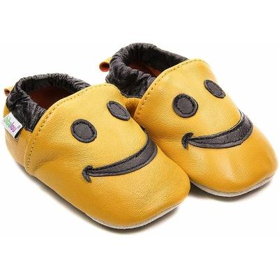 Chaussons bébé en cuir souple Smiley - orange