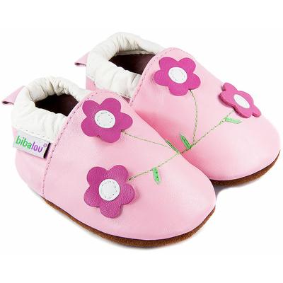 Chaussons bébé en cuir souple Violettes