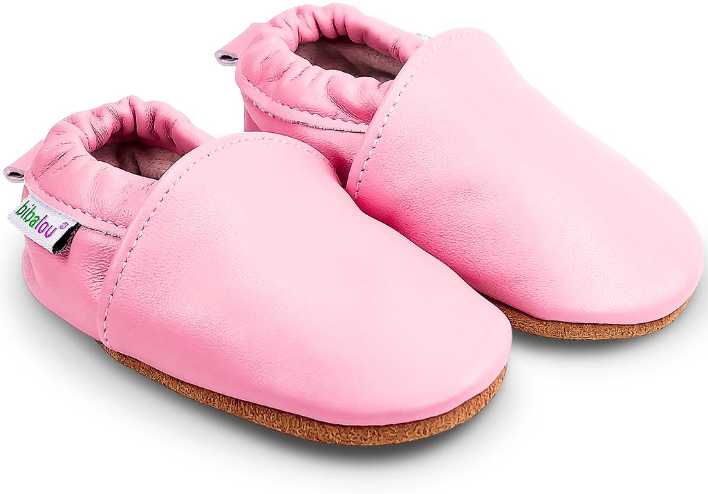 premier taux 4f1a7 809c7 Chaussons bébé en cuir souple Unis - Rose Bonbon