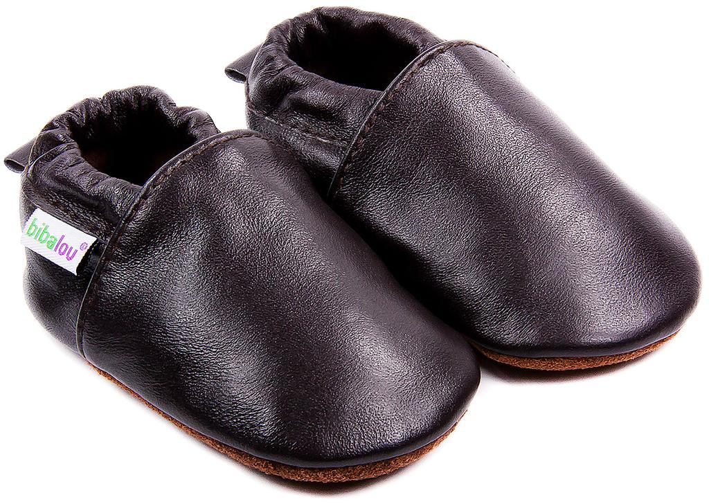 online store factory price outlet for sale Chaussons bébé en cuir souple Unis - Brun Cachou