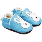 Chaussons bébé fourrés en cuir Jeannot le Lapin - bleu