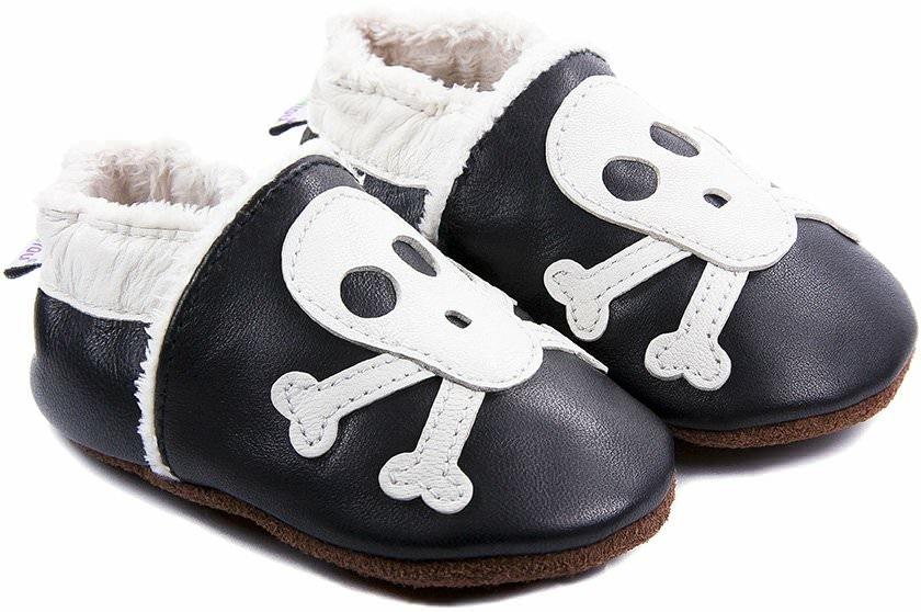 chaussons b b fourr s en cuir rock 39 n roll squelette bibalou. Black Bedroom Furniture Sets. Home Design Ideas
