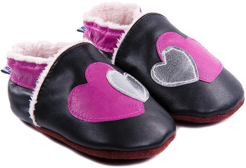 chaussons b b fourr s en cuir coeur coeur bibalou. Black Bedroom Furniture Sets. Home Design Ideas