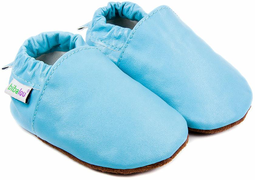 faa10da4cc6 Chaussons bébé en cuir souple Unis Bleu des mers du sud - Bibalou
