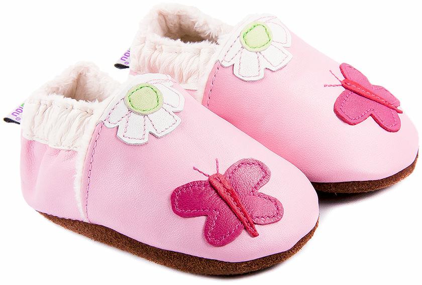 site réputé fa1bb c1770 Chaussons bébé fille - Chaussons cuir fourrés Bibalou