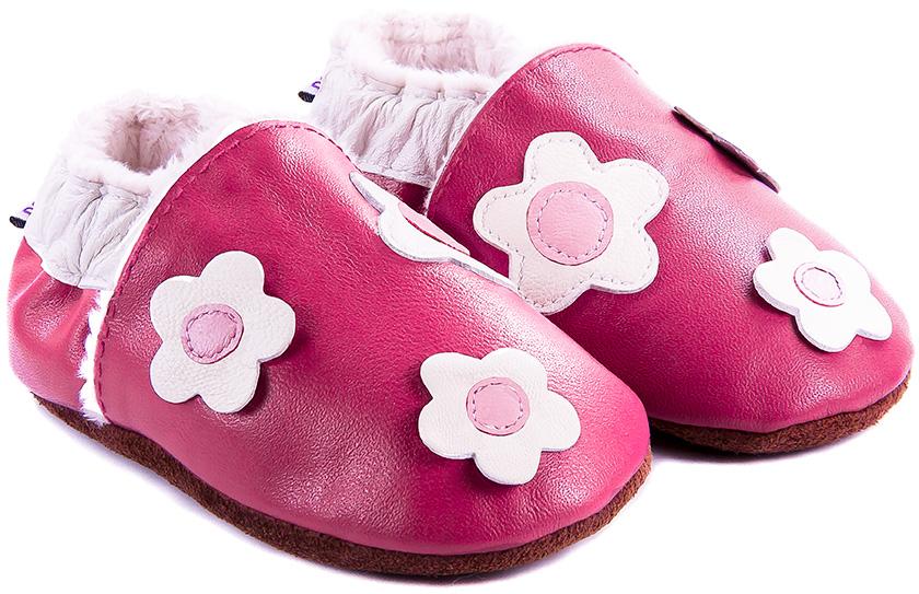 chaussons-bebe-m840-lancer-fleurs-framboise-fourre-face