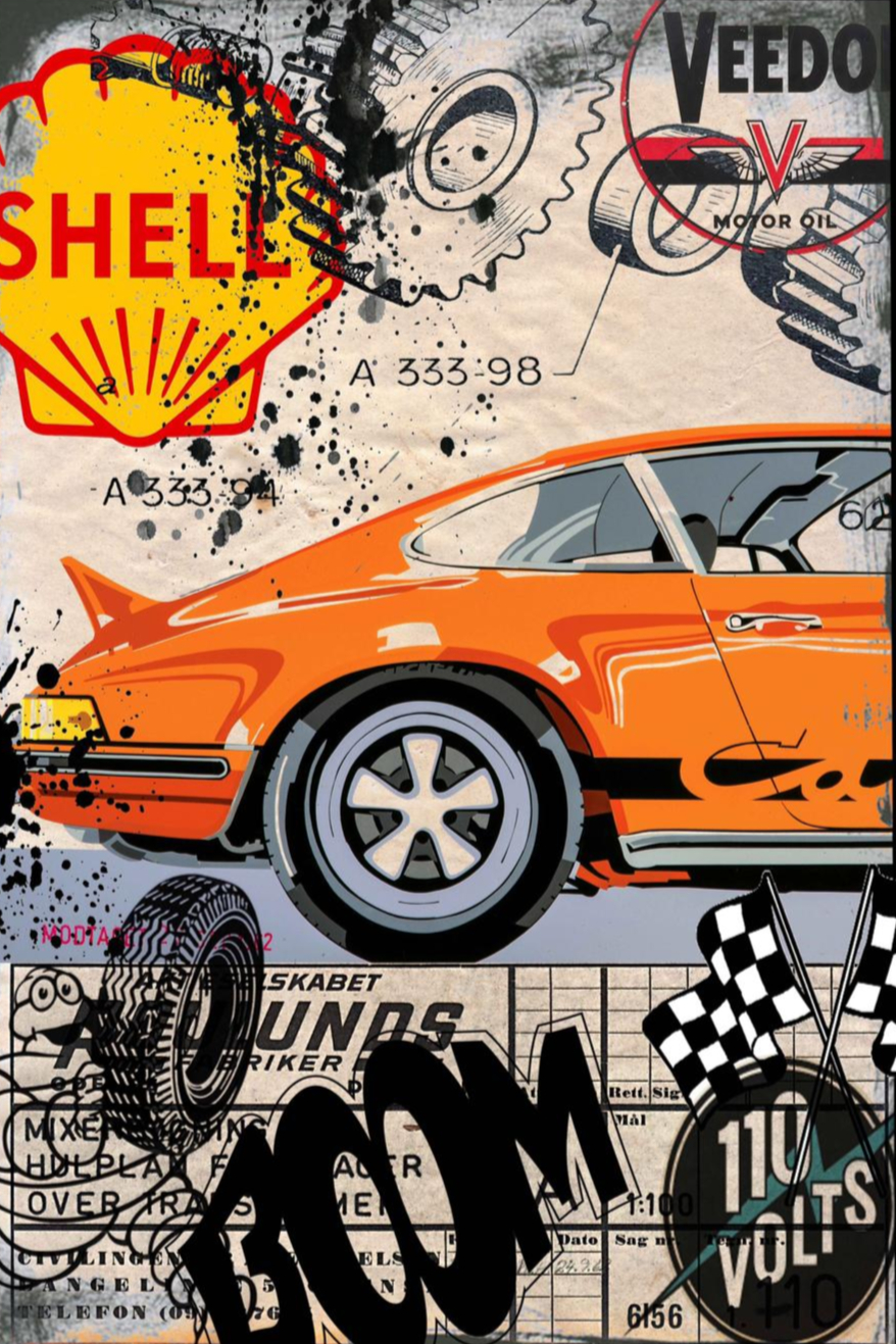 Tableau Porsche Orange Boom