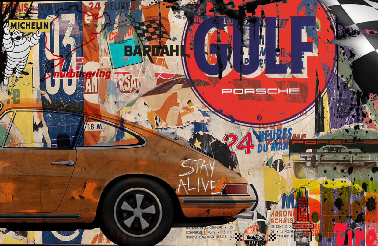 Tableau Orange Porsche - Stay alive