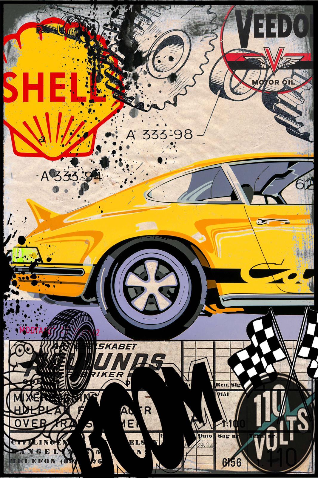 Tableau Yellow Porsche - Boom