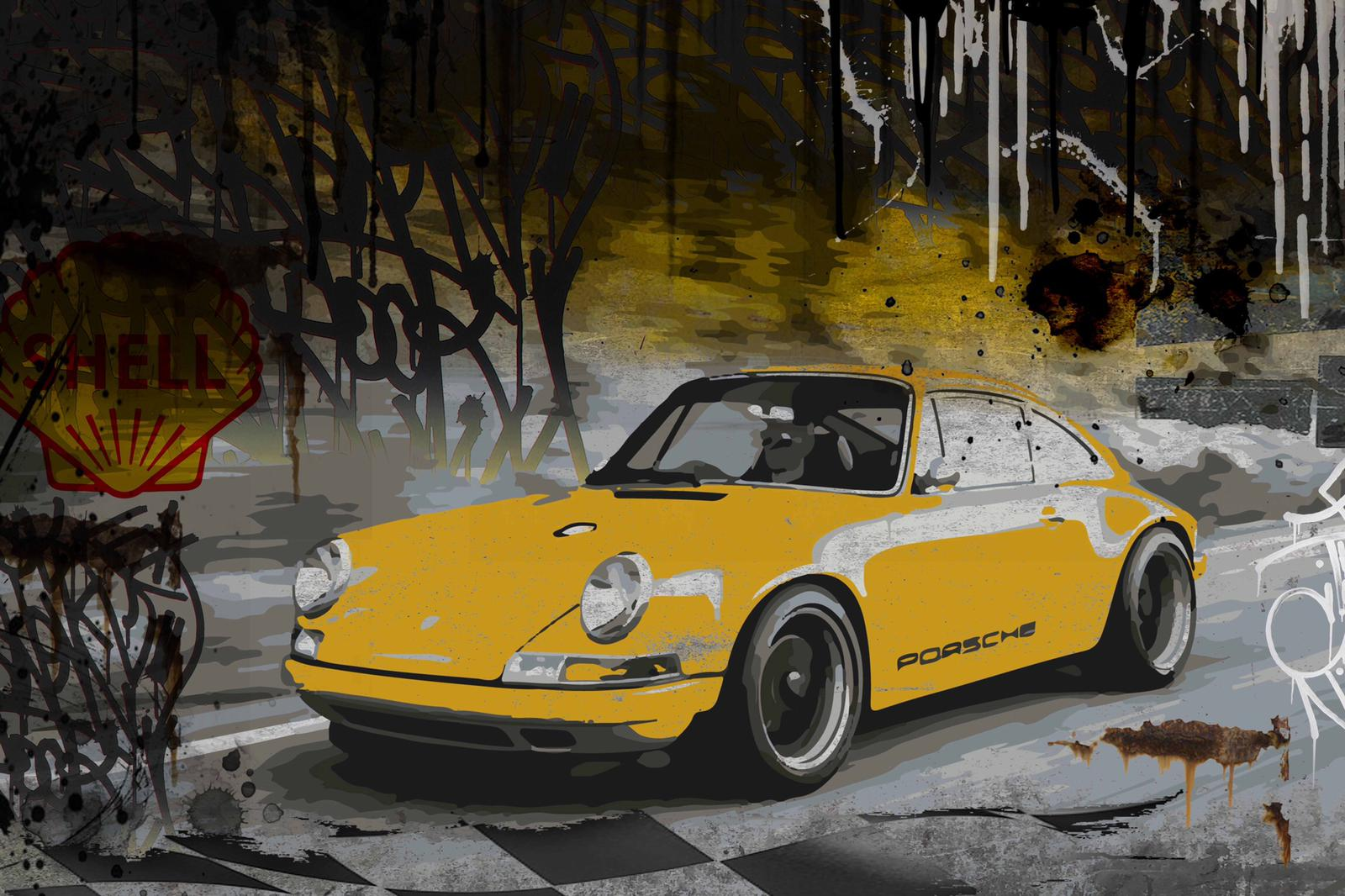 Tableau Yellow Porsche