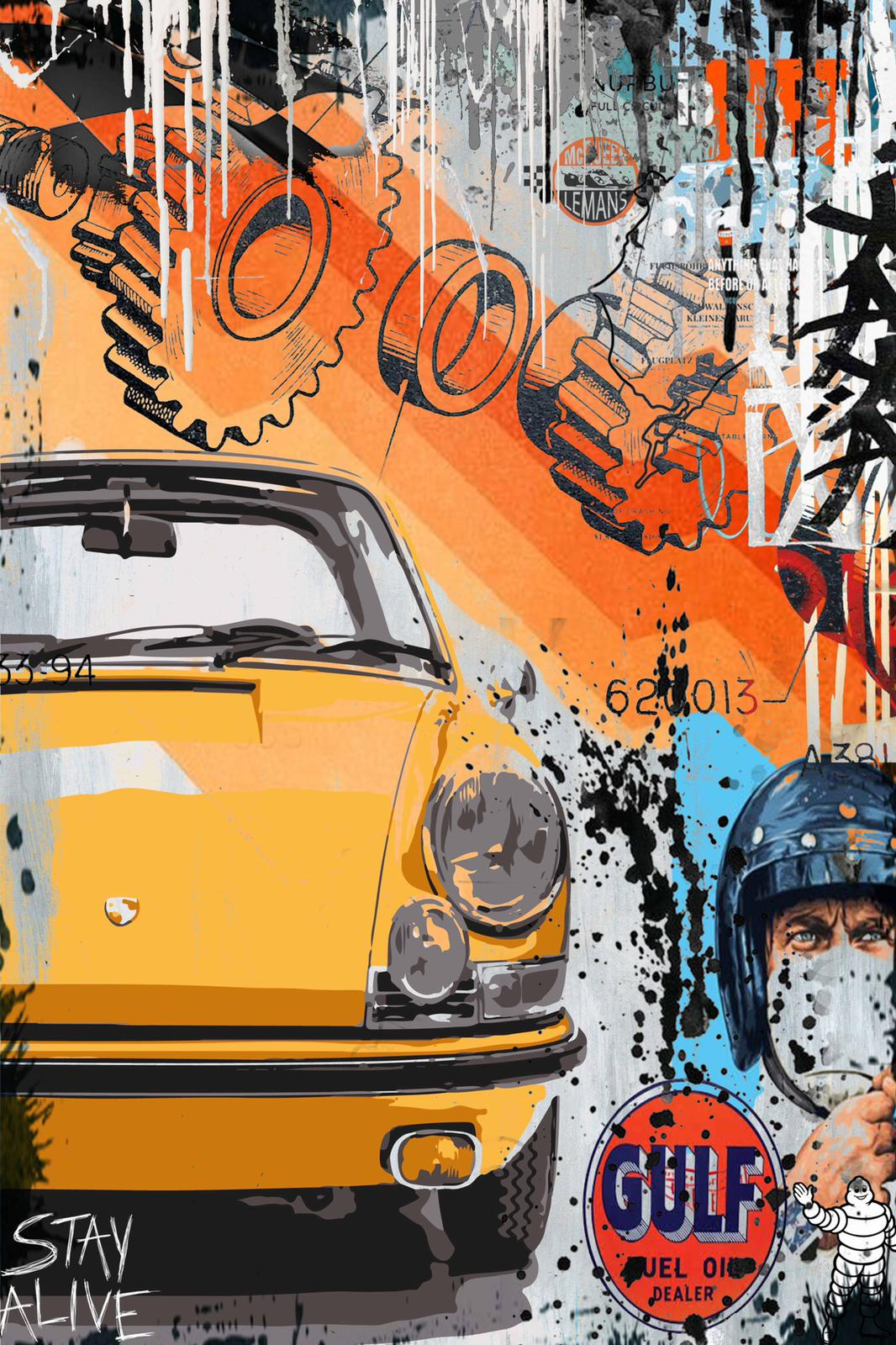 Tableau Yellow Porsche - Stay alive