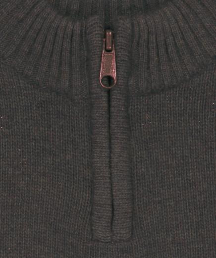 pull col montant zippe taupe kaki détail