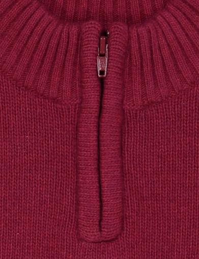 pull col montant zippe grenat détail
