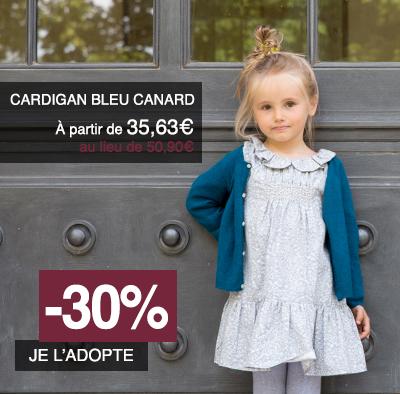 cardigan-fille-bleu-canard