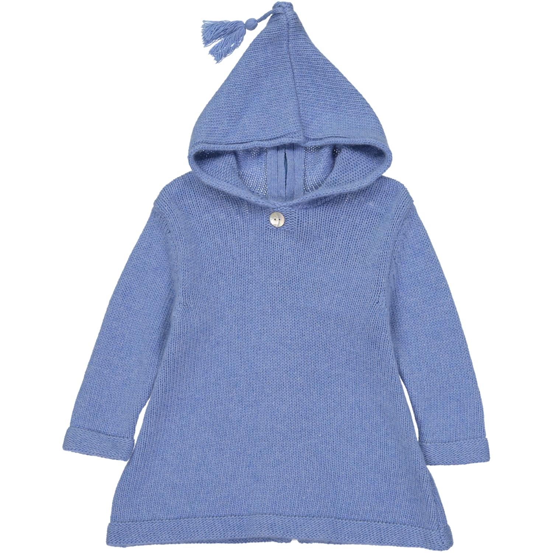 Burnous zippé à capuche bleu pastel