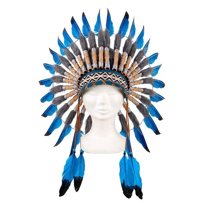 Coiffe indienne bleue Navanjo