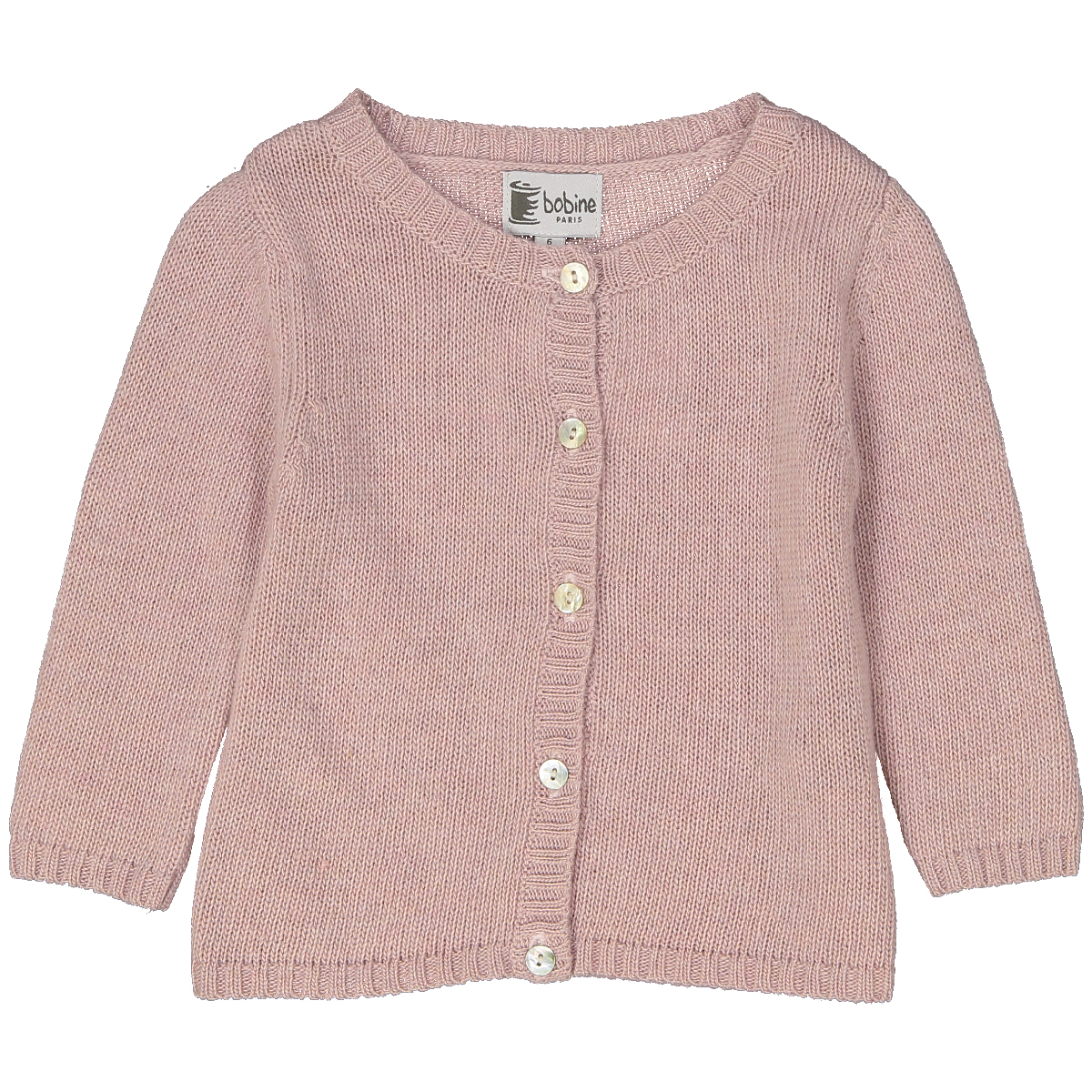 cardigan-bébé-martine-rose-poudre