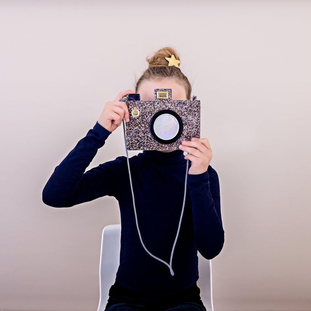 Sac à bandoulière appareil photo glitter multicolore