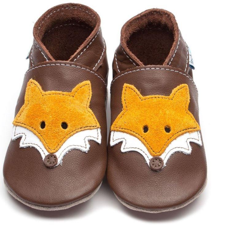 Chaussons enfant en cuir brun avec renard orange