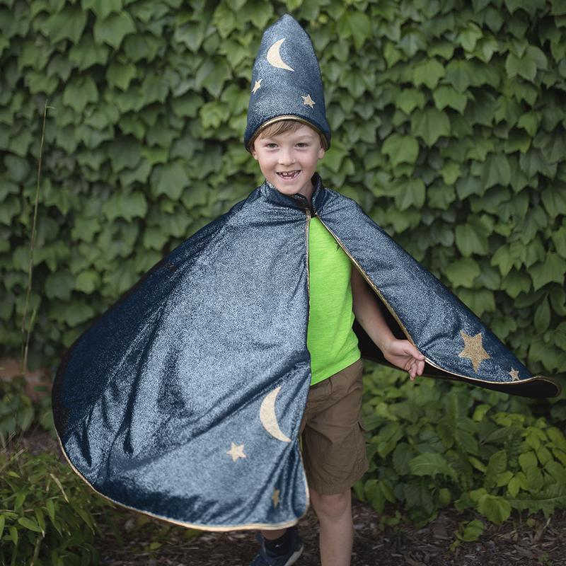 Cape et chapeau de magicien - Pailleté Bleu