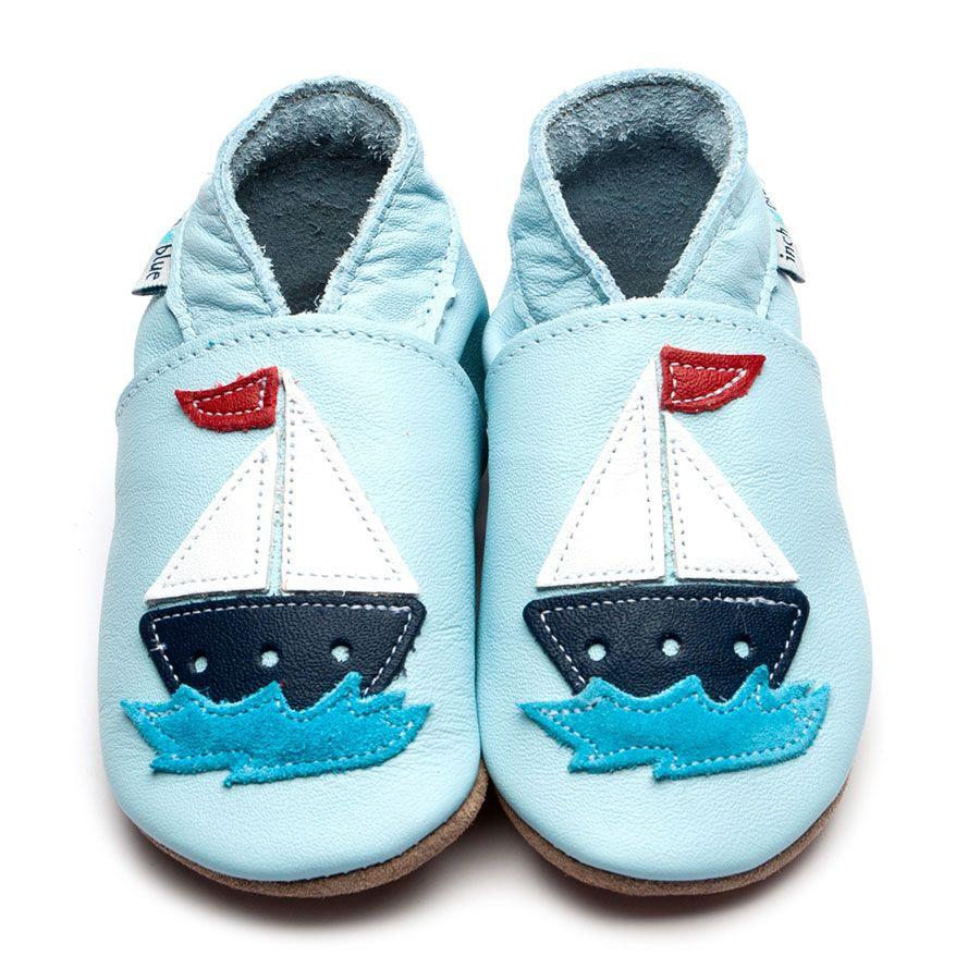 chausson-cuir-bébé-bleu-ciel-bateau