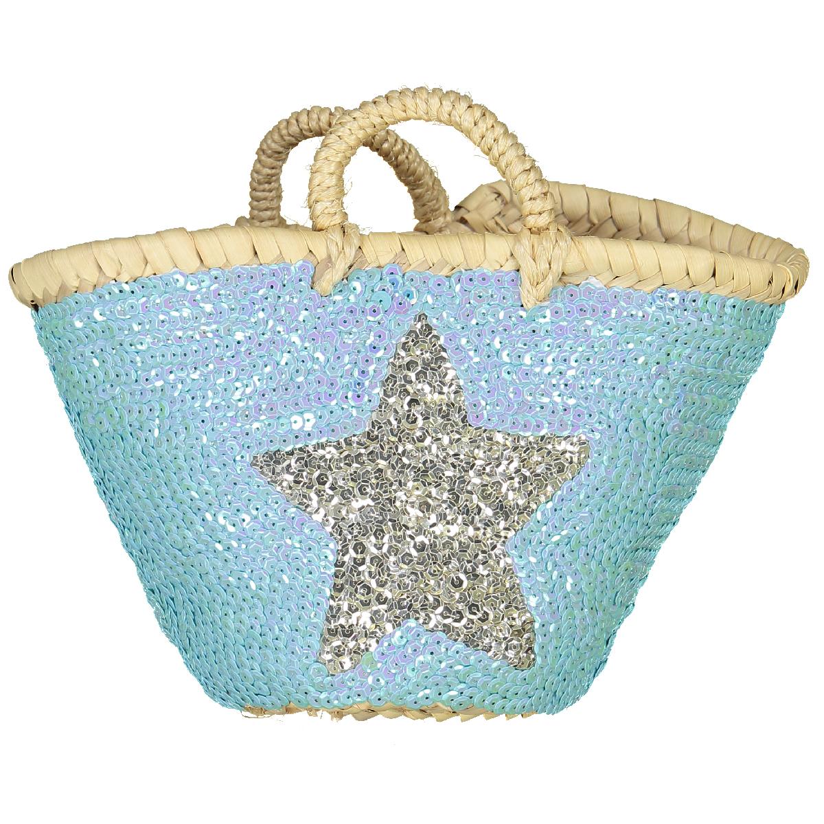 Panier en osier tressé à sequins avec étoiles