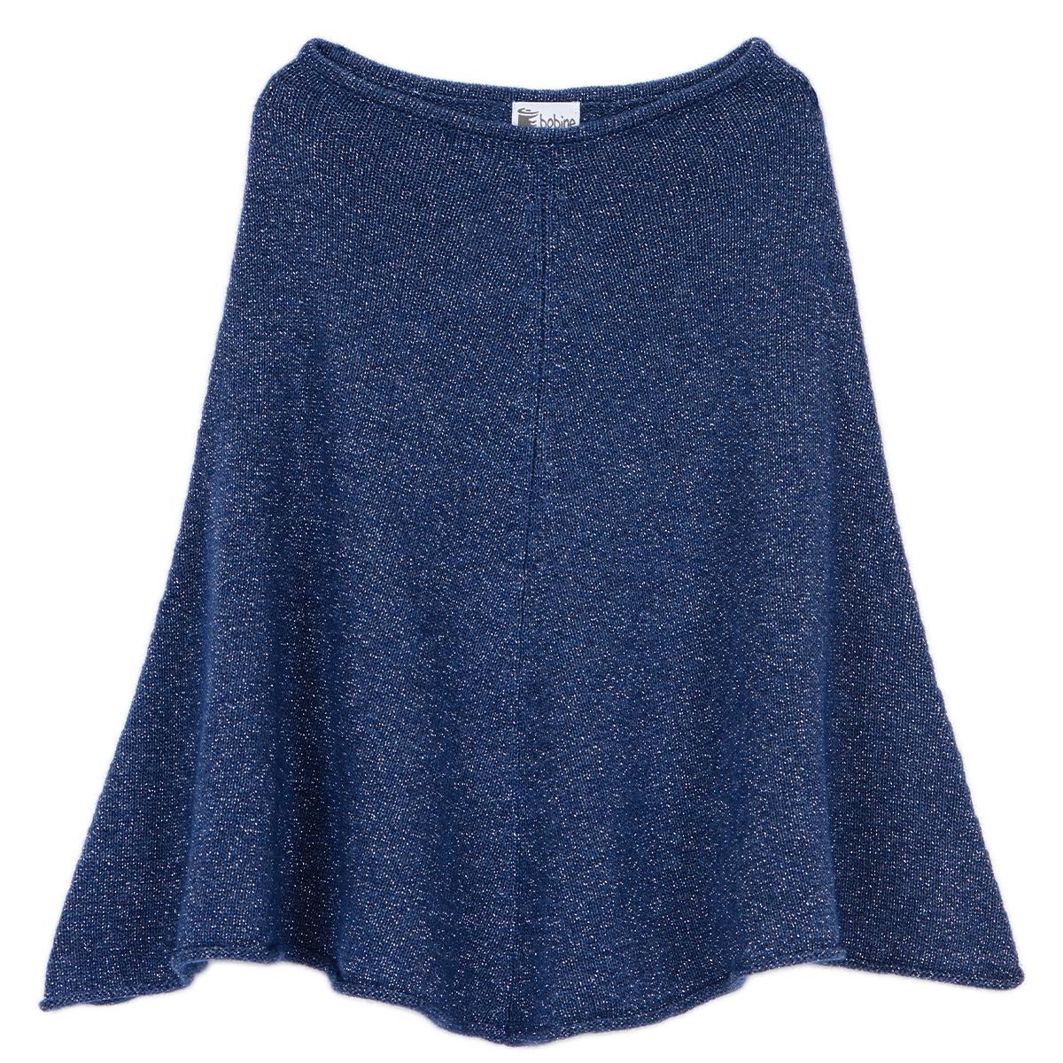 Poncho fille - Bleu jean pailleté