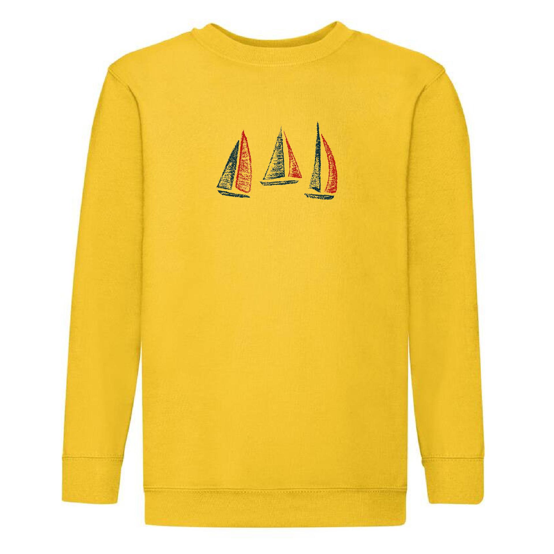 Sweat garçon à motif bateaux jaune